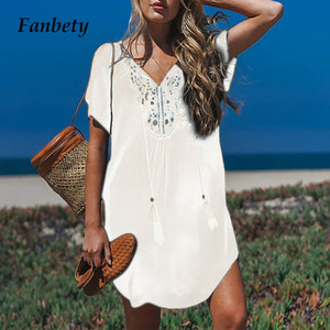 Image 1 - Fanbety  Plus size Tassels Beach Wear dress Women Swimsuit Cover Up Bathing  Summer Mini Dress Loose Solid Pareo Cover up dress