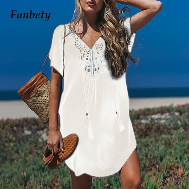 Fanbety  Plus size Tassels Beach Wear dress Women Swimsuit Cover Up Bathing  Summer Mini Dress Loose Solid Pareo Cover up dress