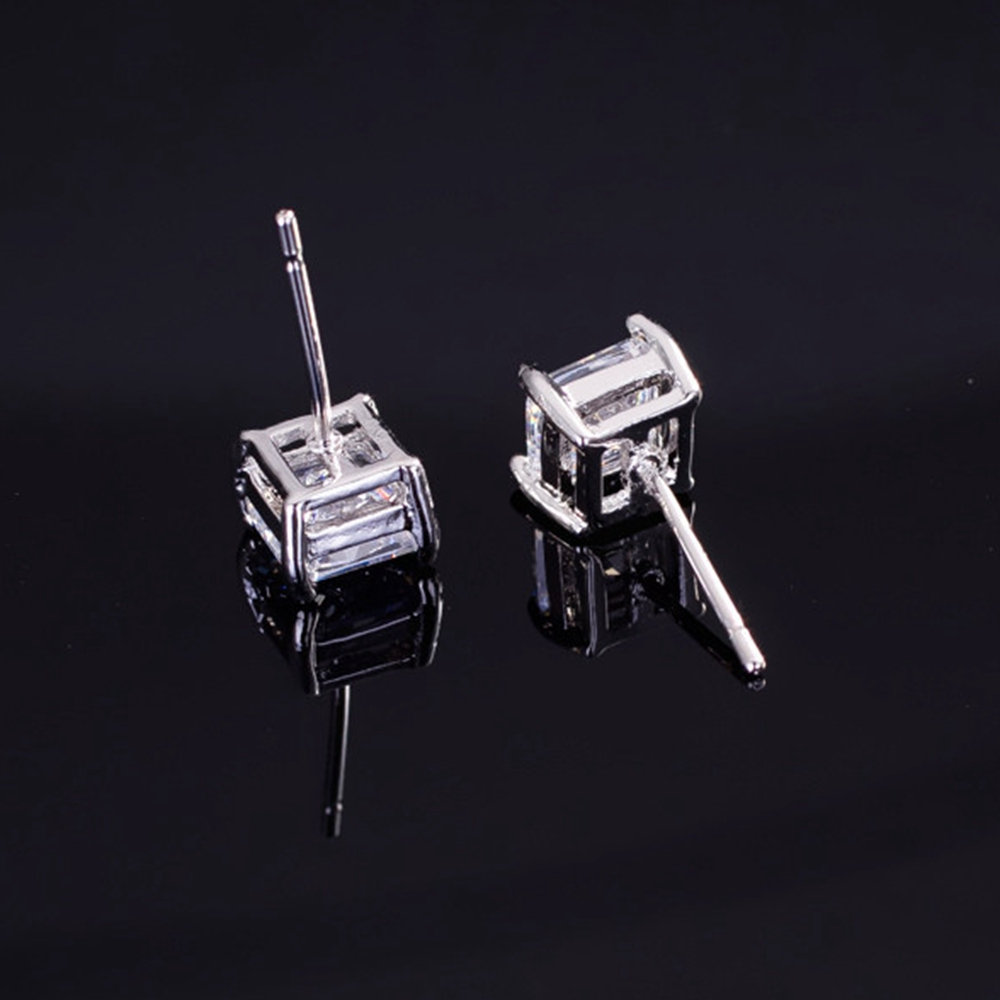 Clear Square Cut Stud Earrings White Gold Filled Womens Mens Earrings Gift 6mm