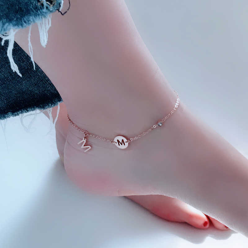 YUN RUO 2018 Fashion Chic M Letter Anklet Chain For Woman Girl Party Gift Rose Gold Color 316 Stainless Steel Jewelry Never Fade