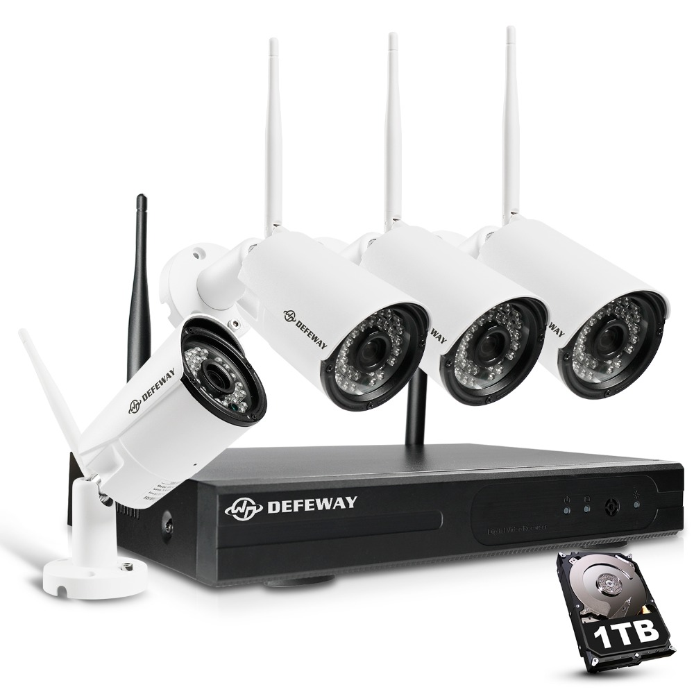Defeway 8CH H.265 + Sans Fil 1080 p HD NVR 4 pcs 2.0MP IR En Plein Air P2P Wifi Caméra de Sécurité CCTV Système surveillance Kit avec 1 tb
