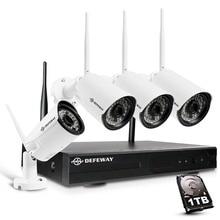 Defeway 8CH H.265+ Wireless 1080P HD NVR 4PCS 2.0MP IR Outdoor P2P Wifi Security Camera CCTV System Surveillance Kit with 1TB