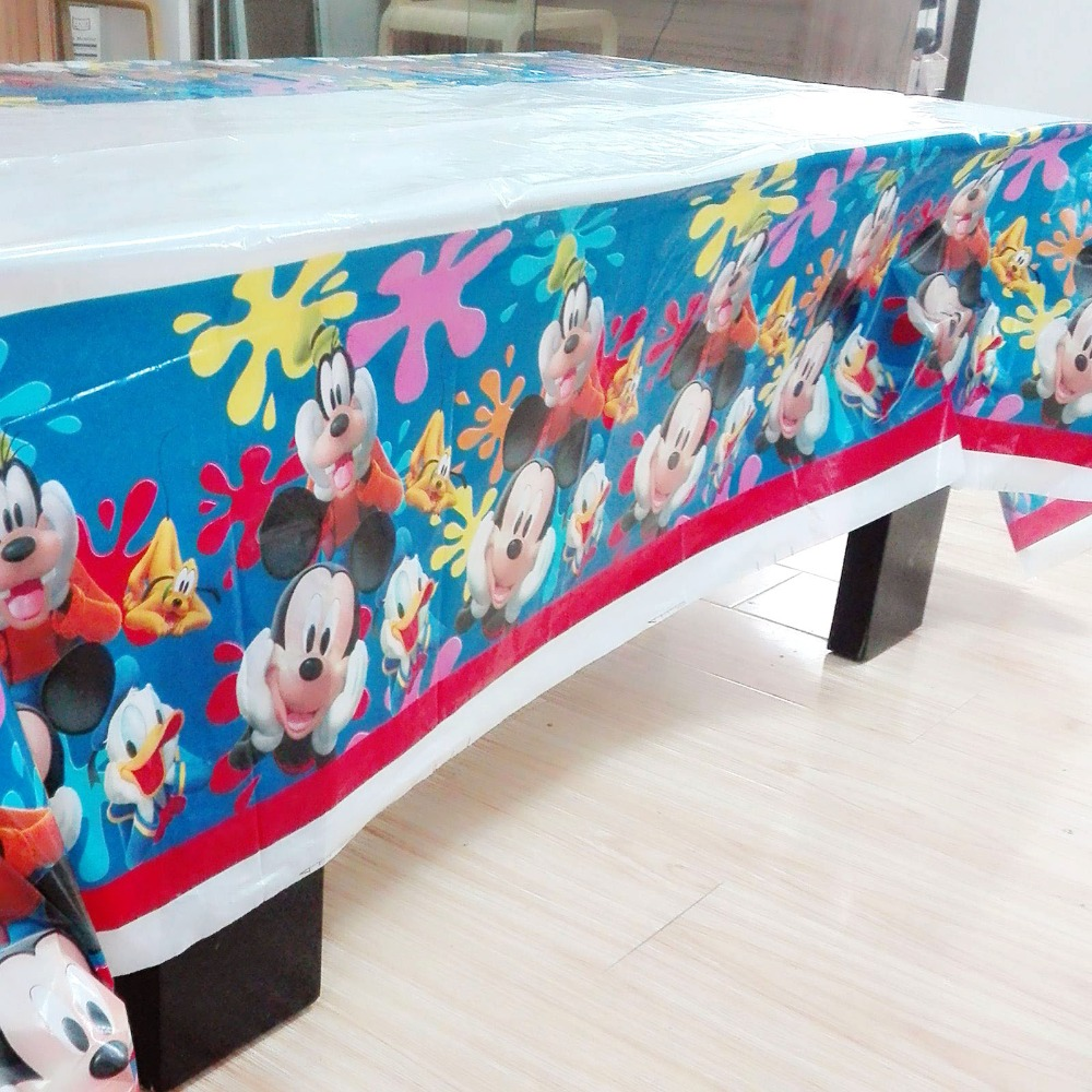 108x180cm Mickey Mouse Party Supplies Disposable Tablecloth Kids Birthday Party Decorations Baby Mickey Mouse Party Supplies in Disposable Party Tableware from Home Garden