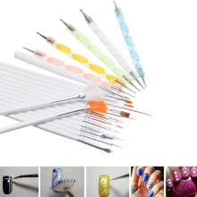 20pcs=15Pcs Nail Art Brushes Set Painting Detailing Pen+5 Pcs 2 Ways Dotting Pen Marbleizing Tool for Manicure Nail Styling Kits