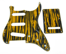 Strat Pickguard Black/Yellow Wicker with back set