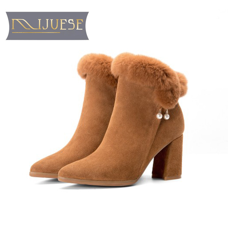 MLJUESE 2018 women ankle boots cow Suede pearl rabbit hair zippers winter short plush boots square heel high heels snow boots nemaone 2018 winter cow suede chelsea ankle boots shoes for woman high heels square heel short plush fashion women boots