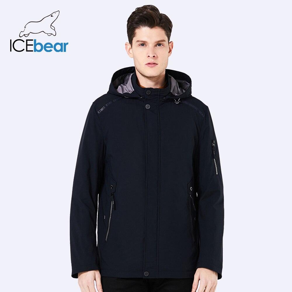 ICEbear 2018 Новинка мужская короткая тёплая демисезонная куртка для отдыха и бизнеса ветрозащитная качественная парка со съёмным капюшоном ...