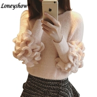 2018 Autumn Winter Women Layered Ruffle Sleeve Loose Jumper Pink Crew Neck Long Sleeve Cute Female Sweaters and Pullovers