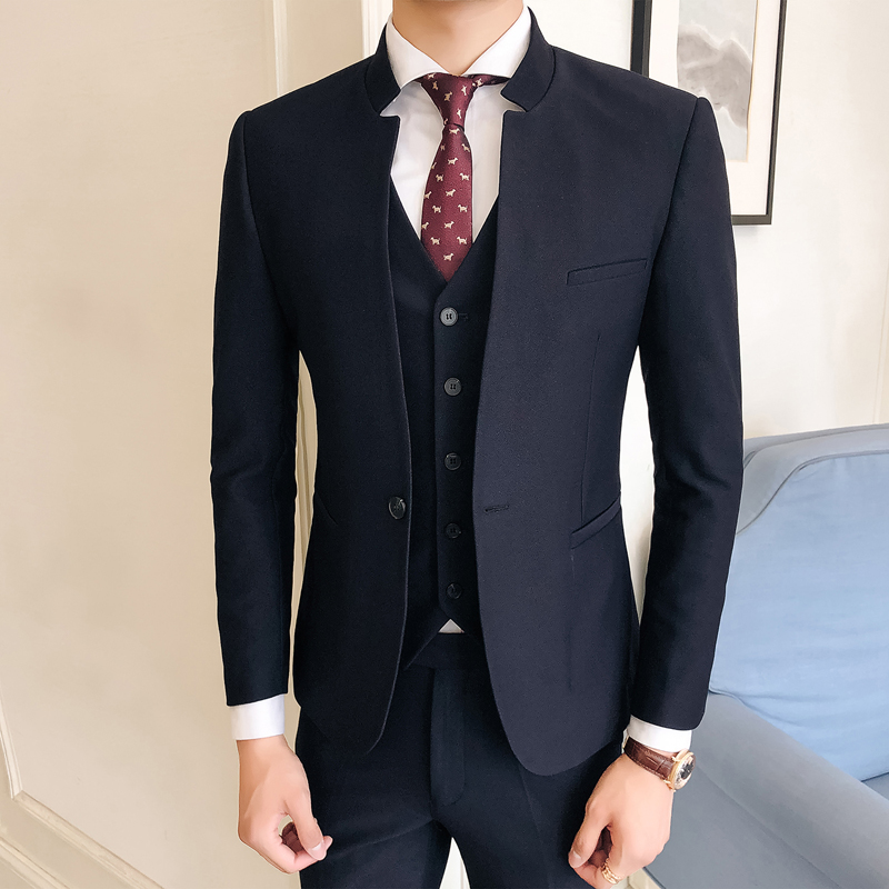 Pure-Color-Men-Formal-Suit-Three-piece-Sets-Size-S-3XL-Business-Wedding-Banquet-Men-s