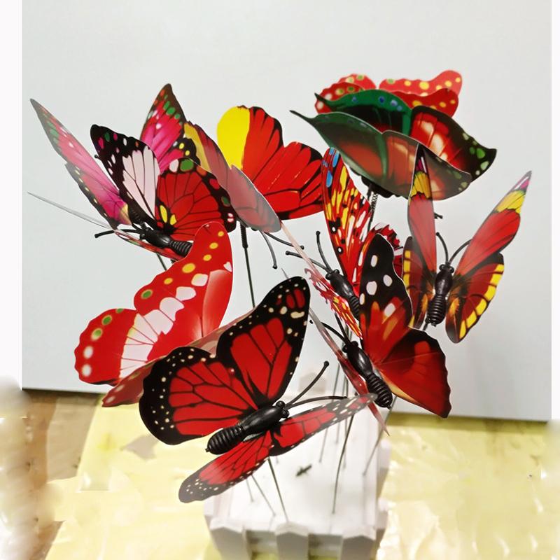 Merveilleux Colourful Garden Plastic Butterflies On Sticks Dancing Flying Fluttering  Butterfly DIY Art Ornament Vase Lawn Garden Decoration ...