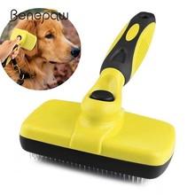 Benepaw Premium Self Clean Hair Dog Brush Slicker Comfortable Small Large Dog Comb Pet Grooming Tools Cat Fits Various Hair