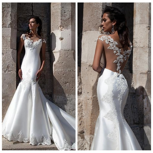 Y Illusion Skin Color Top Wedding Dresses V Neck Cap Sleeves Mermaid Bridal Gowns Sweep
