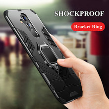 Luxury Armor Ring Case For Huawei Mate 20 lite Hybrid Shockproof Hard Cover Anti-Fall Soft Edge Pro