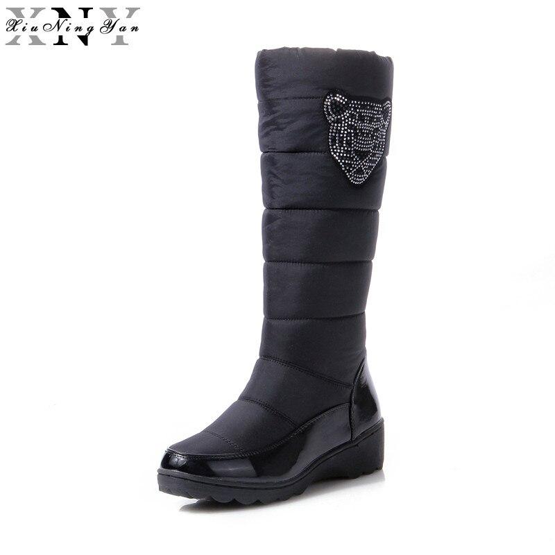 XiuNingYan 2017 Fashion Winter Boots Platform Fur Inside Warm Plush Knee High Snow Boots for Women Cotton Shoes outdoor Shoes