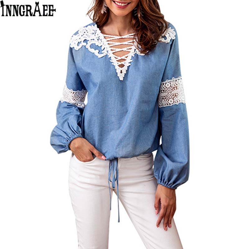 Women's Clothing Responsible 2018 Womens Shirt Autumn Denim Blue Hook Flower Hollow V-neck Lace Stitching Long-sleeved Shirt Long Sleeve Ns3943 Chills And Pains