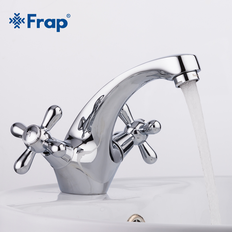 FRAP Newly Classic Silver Bathroom Basin Faucet Kitchen Bathroom Basin Mixer Robinet Hot and Cold Water Mixer Control Tap F1025 смеситель frap f1025