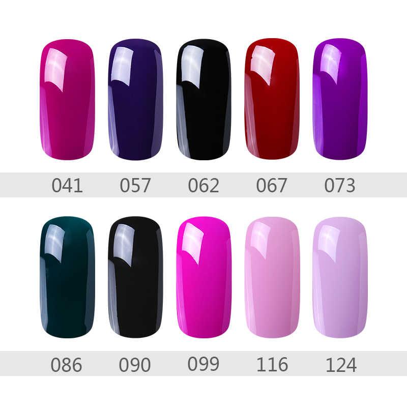 HNM GEL เล็บ UV UV 8ML เล็บเจล Polish Soak Off UV LED กึ่งถาวรเจลเคลือบเงา 57 สี PURE สี
