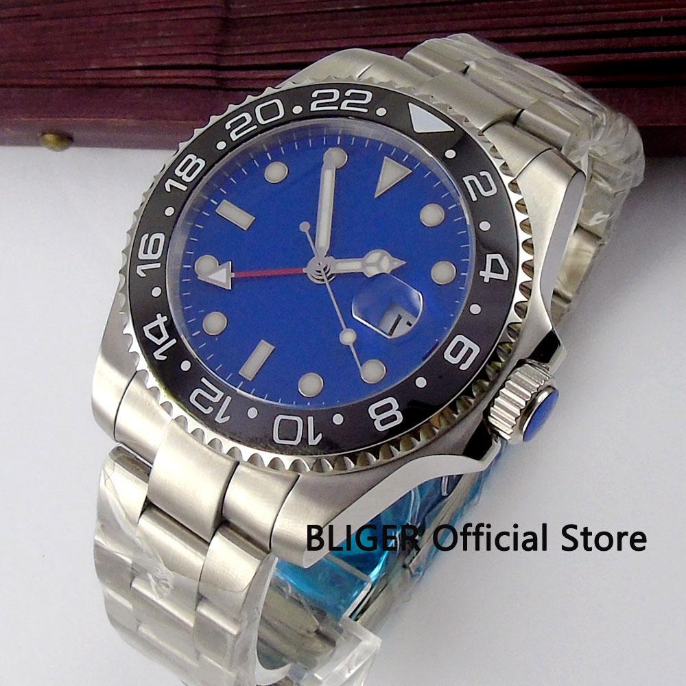 Sapphire Glass 43mm Blue Sterile Dial Black Ceramic Bezel Luminous Marks GMT Function Automatic Movement Men's Wrist Watch B310 28 b310 31