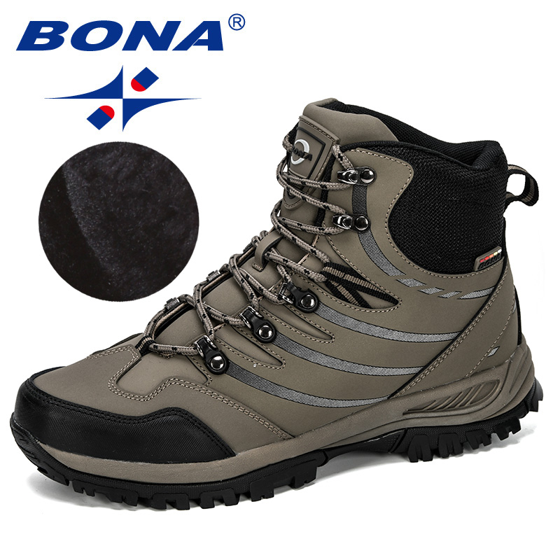 BONA 2019 New Designer Hiking Shoes Men Cow Split Plush Boots Man Mountain Climbing Shoes Outdoor Sport Shoes Trekking Sneakers-in Hiking Shoes from Sports & Entertainment