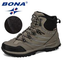 BONA 2019 חדש מעצב נעלי הליכה גברים פרה פיצול קטיפה מגפי גבר נעלי טיפוס הרים חיצוני ספורט נעלי טרקים סניקרס