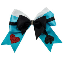 Adogirl 6 Inch Loveheart Layered Bowknot Hair Bows for Girls Women Handmade DIY Grosgrain Ribbon Diamonds Clips Accessories