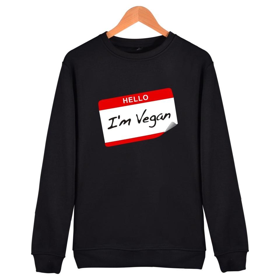 Meaningful Pattern Sweatshirt Promote To Be Vegan Hoodie Sweatshirt Powered By Plants Men Interesting Clothes Capless Sweatshirt