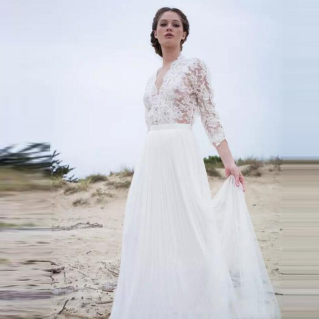 White Lace Two Pieces Tulle Simple Wedding Dress Suits Bohemian Boho Style  Travel Outdoor Garden Beach