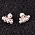 Мода жемчужные украшения сымитированная перла серьги стержня с золотым напылением горный хрусталь серьги для женщин букле d'oreille роковой