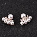 La perla de la joyería simulado perla Stud pendientes con chapado en oro Rhinestone pendientes para mujeres boucle d'oreille femme