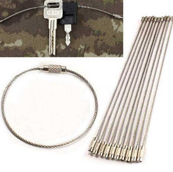 10pcs/lot Outdoor Camping Edc Gear Multifunctional Wire Rope Key Ring & Stainless Steel Wire Chain Key Ring Edc Tool
