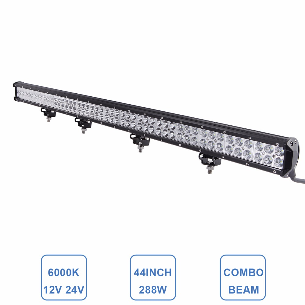 Offroad LED Light Bar 288W 44'' 12V 24V Car Auto Truck ATV SUV AWD Pickup Boat VAN Camper Wagon 4X4 4WD Driving Lamp Headlight 60w led light bar 8 offroad 12v 24v car truck 4wd suv atv 4x4 auto trailer wagon ute awd boat spot driving fog lamp headlight