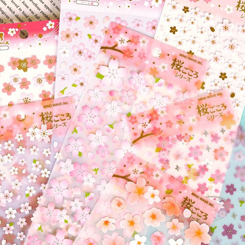 Romantic Sakura Stationery Diary Stickers Decorative Mobile Stickers Scrapbooking DIY PVC Stickers Escolar Papelaria