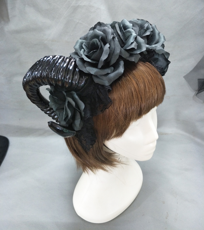 Black Witches Vamp Gothic Horn Pan Flower Crown Headband Halloween Cocktail Party Headpieces Fancy Dress Accessories