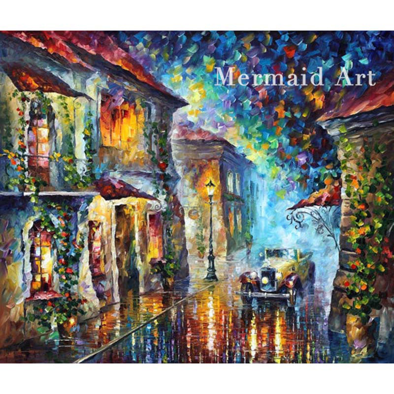 100 Hand Drawn City At Night 3 Knife Painting Modern: Compare Prices On Greek Art Painting- Online Shopping/Buy
