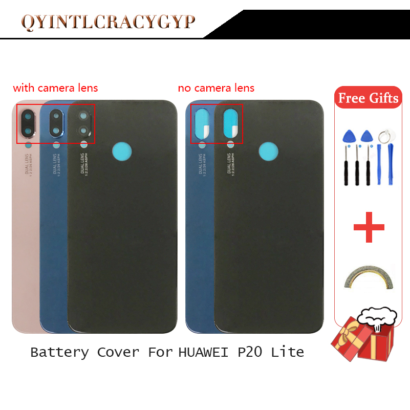 Glass Rear Housing Cover For HUAWEI P20 Lite Back Door Replcement Battery Case Adhesive Sticker Glass Battery Cover