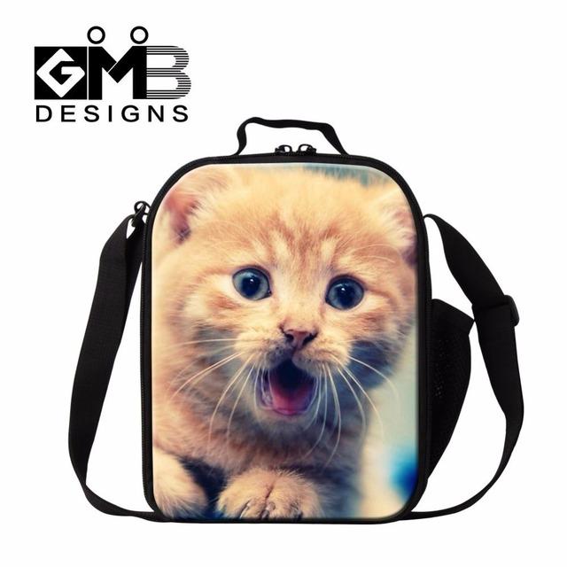 Dispalang moda almoço saco bonito do gato animal print sacos de lanches saco térmico isolado cooler reutilizáveis lancheira lancheira termica