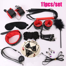 11 Pcs Women's Sexy Lingerie Games for Adults BDSM Bondage Set Gag in Mouth Handcuffs Collar Sex Toys For Women Erotic Costumes