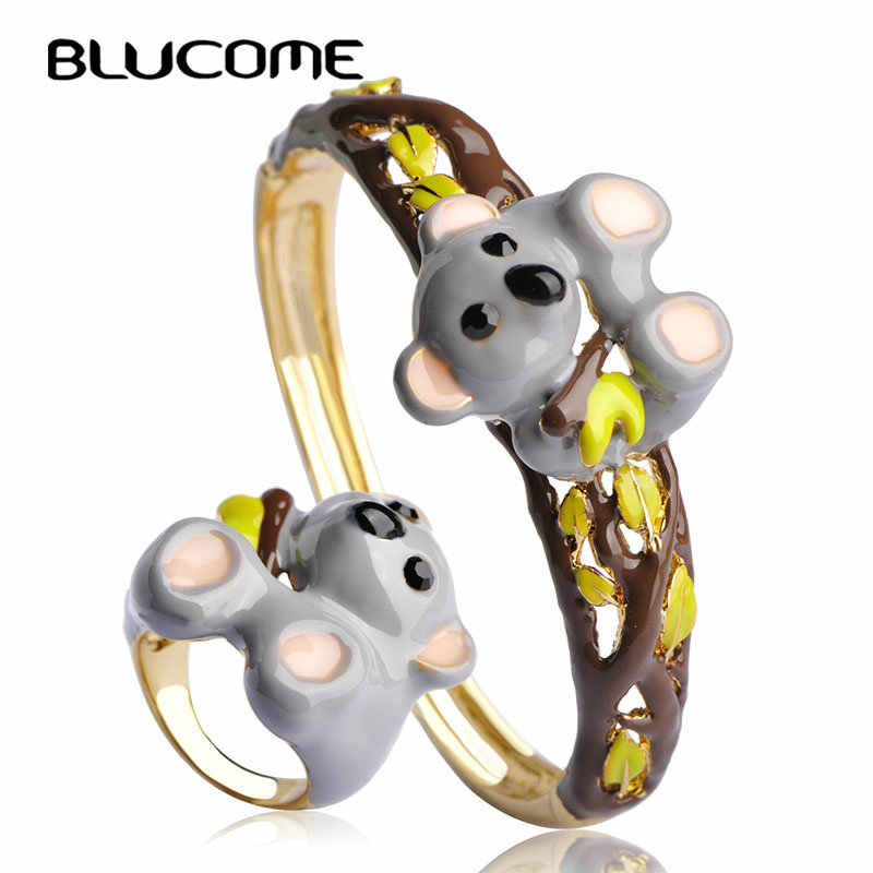 Blucome Enamel Animal Jewelry Sets Women Bear Bangle Bracelet Wide Ring Party Cartoon Hand Bijoux Ring Anel feminino Accessories