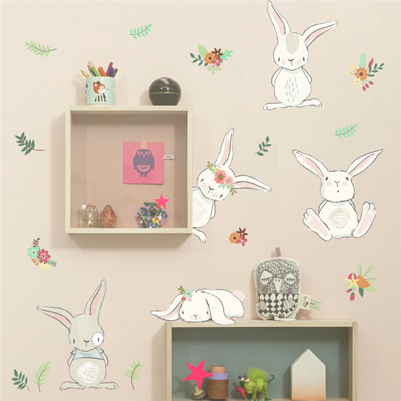 cartoon rabbit flower wall sticker for kids rooms decal bedroom living room mural 3d window home decor