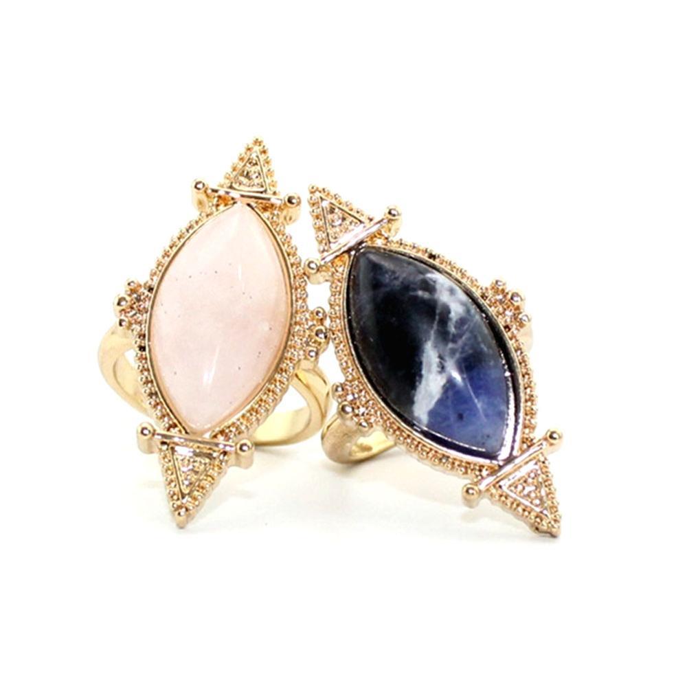 Բնական քար Druzy Quartz Crystal Women Rings Drusy Green Rose - Նորաձև զարդեր - Լուսանկար 6