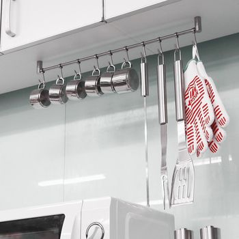 Kitchen Rail Rack Wall Mounted Utensil Hanging Rack Stainless Steel Hanger Hooks for Kitchen Tools Pot Towel