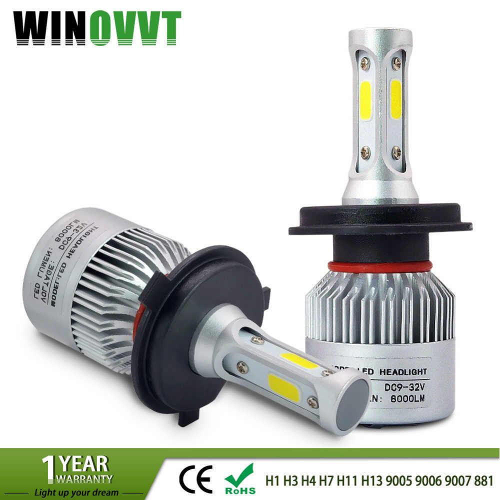 2Pcs H4 Led H7 H1 H3 H11 H13 HB3 HB4 9005 9006 9007 881 LED Car Headlight Bulbs 72W 8000lm Auto Headlamp Fog Light 6500k 12V 24V