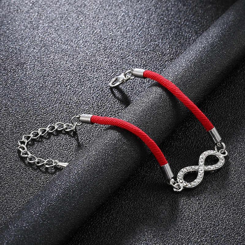 クラシック夏ブレスレットデジタル 8 チャクラインフィニティ編み女性ブレスレットラッキー赤ロープ文字列ロープ糸卸売
