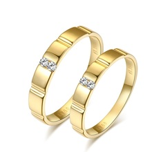 18K Yellow Gold Diamond Wedding Ring Couple Set 0.03+0.02ct Diamond Handmade Jewelry for Engagement Free DHL Shipping