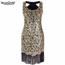 Womens 1920s ลายแขนกุด Racer กลับ Flapper สีดำ Gold เซ็กซี่ Fringe Great Gatsby Party Dress