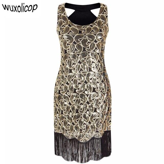 Aliexpress Buy Women's 60s Sequin Paisley Pattern Sleeveless Extraordinary 1920s Dress Patterns