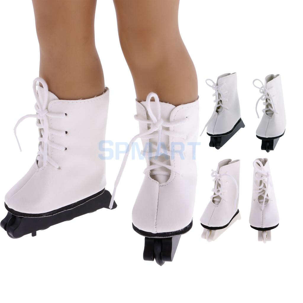 1 Pair of White PU Lace up Roller Skates Fashion Shoes for 18inch American Girl Our Generation My Life Dolls