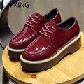 LIN REI Nova Marca de Estilo Britânico Sapatos de Plataforma Baixa Top Mulher Sapatos casuais Rendas Até Dedo Do Pé Redondo Retro Lazer Sapatos de Couro de Patente