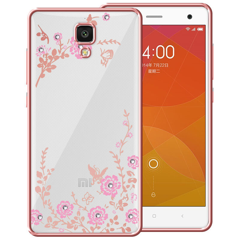 For Xiaomi Mi4 Mi4i Mi 4 Case Flora Diamond Chic Flower Soft TPU PC Clear Back Cover For Xiaomi Mi 4 Mi4i Phone Case Fundas ...