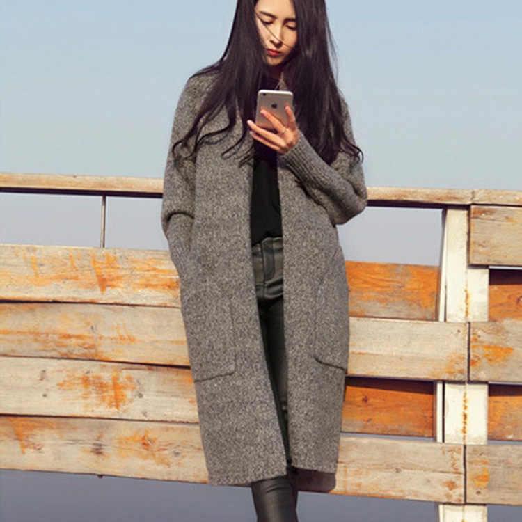 2017 סוודר נשים אביב נשים קוריאני Loose ארוך קרדיגן עבה נשים של נשים מזדמנים Vestidos MMY17113